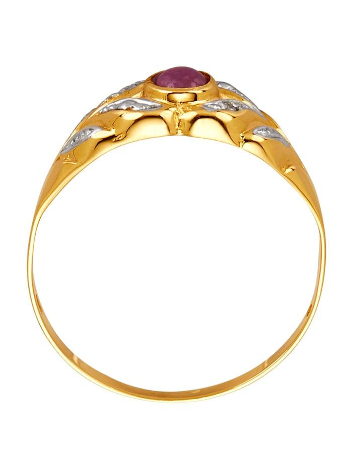 Damesring met robijn en diamant