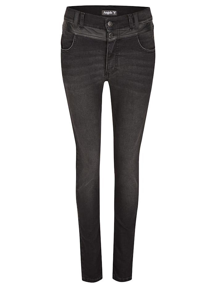 Angels Jeans 'Skinny Button Patch' mit Lederimitatapplikationen, anthrazit