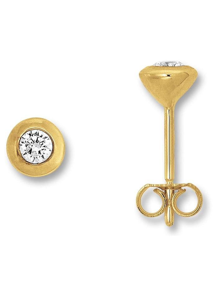 One Element Damen Schmuck Ohrringe / Ohrstecker Zarge aus 333 Gelbgold Zirkonia, gold