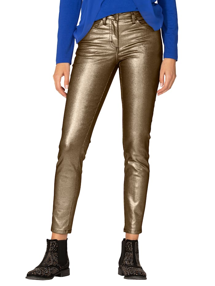 AMY VERMONT Broek in metallic look, Goudkleur