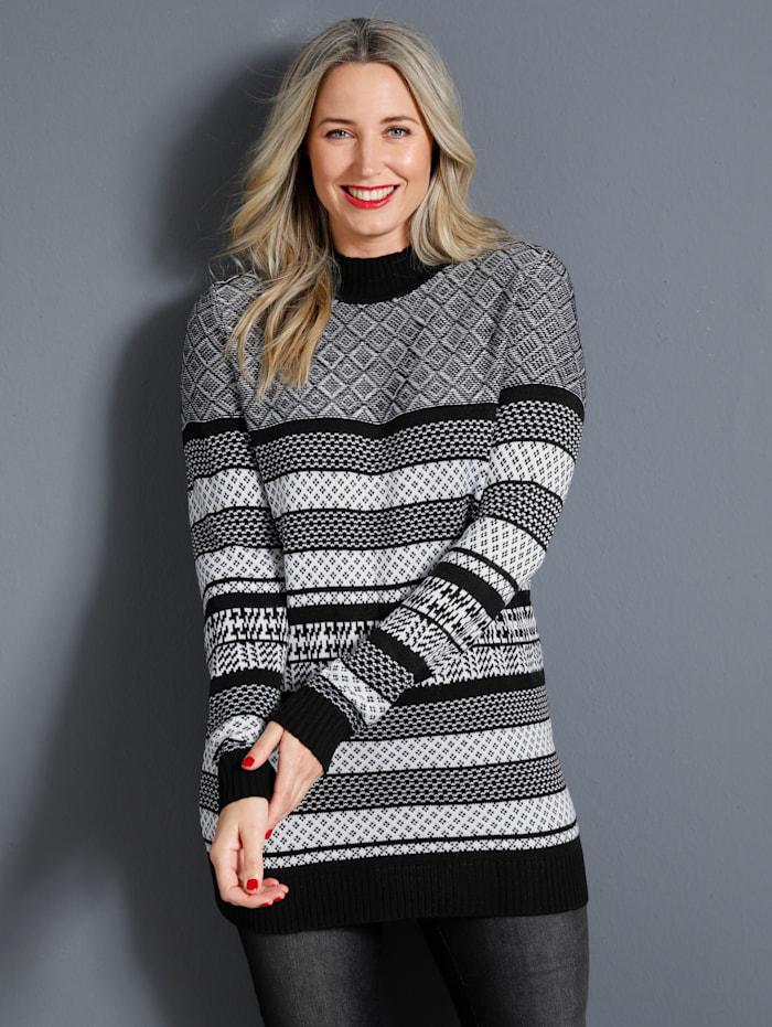 MIAMODA Pullover mit tollem Strickmuster, Schwarz/Weiß