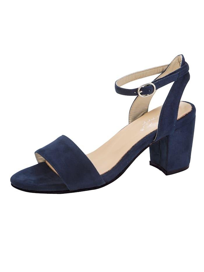 Sandaletter med vristrem och stabil klack, Marinblå