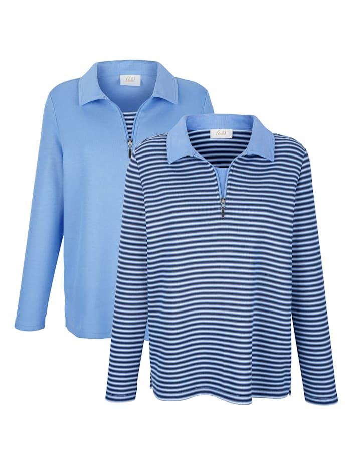 Paola Sweatshirt unifarben und gestreift, Blau/Beige