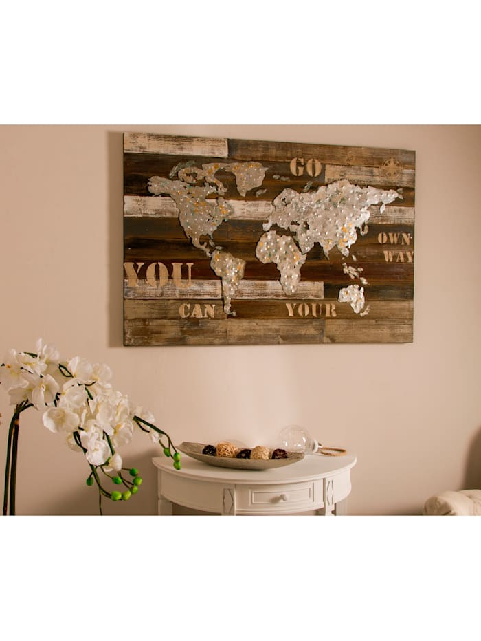 Holzbild, Weltkarte