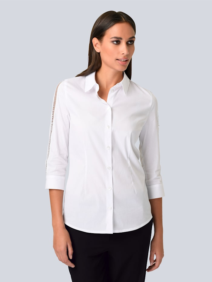 Alba Moda Hemdbluse mit Cut-Outs an den Ärmeln, Weiß