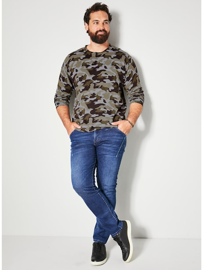 Pullover mit Allover-Print im Camouflage-Look