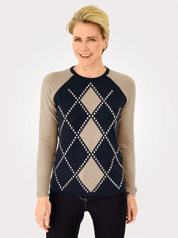 MONA Pullover aus Jacquard-Strick, Marineblau