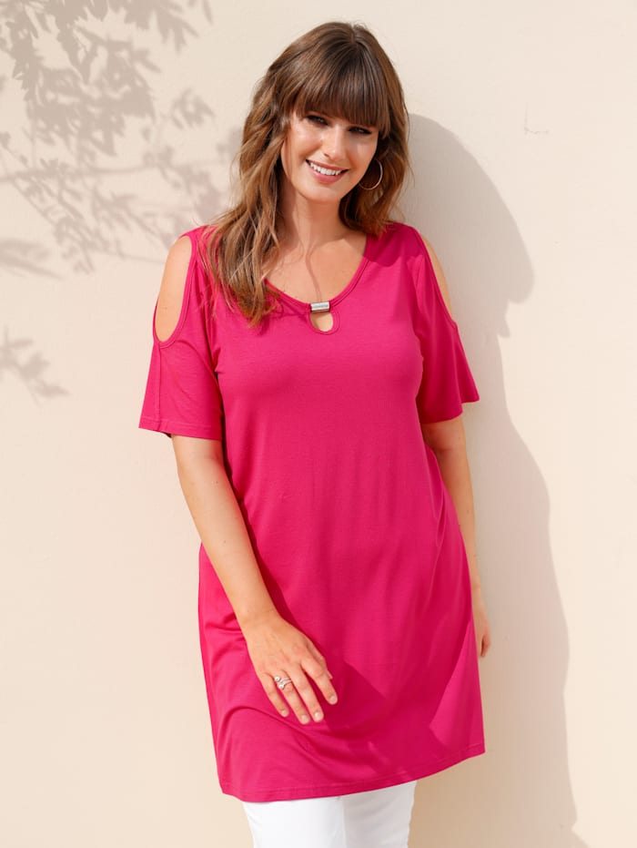 MIAMODA Longshirt mit Cut-Out an den Schultern, Pink