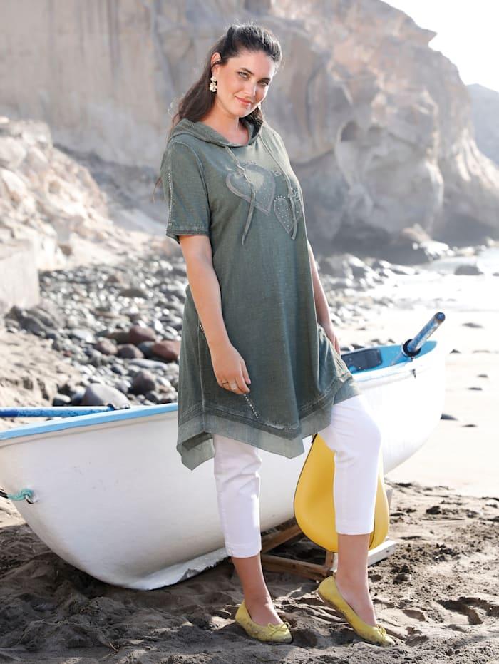 MIAMODA Kleid mit modischer Kapuze, Khaki