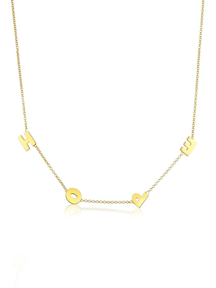Elli Halskette Erbskette Hope Wording Trend Buchstaben 925 Silber, Gold