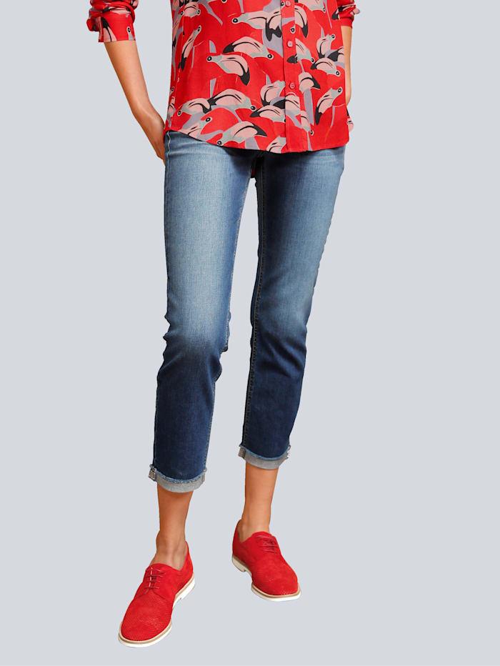CAMBIO Jeans mit Fransenkante, Dark blue