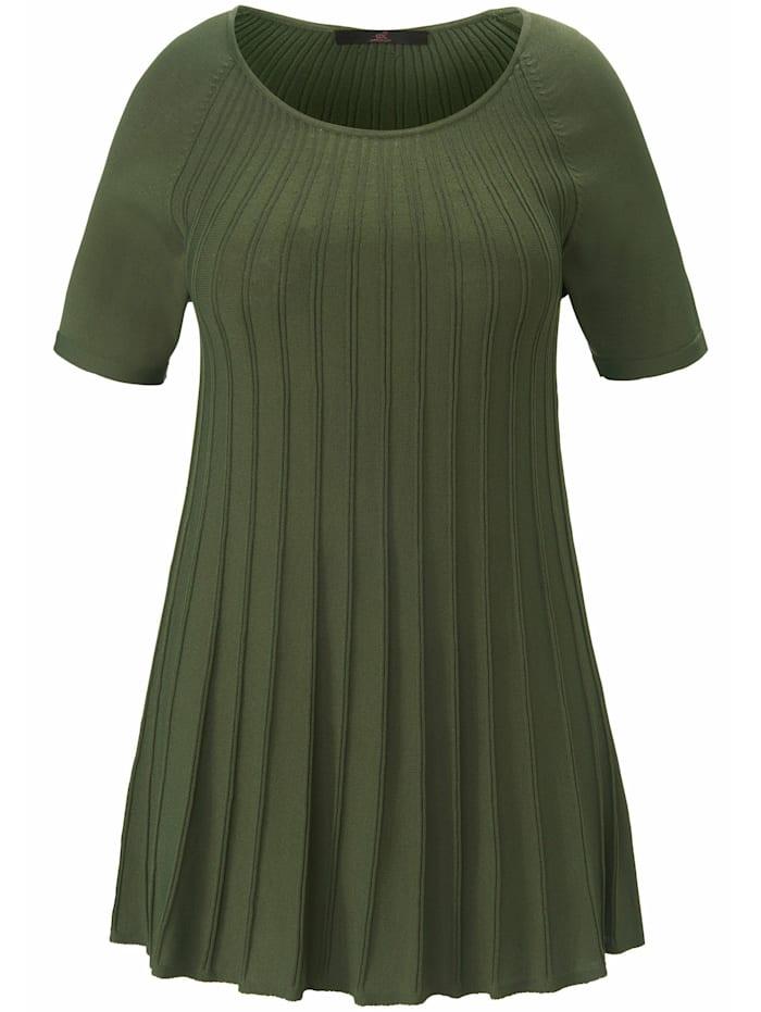 Emilia Lay Kurzarmpullover Rundhals-Pullover mit Raglan-Halbarm, khaki