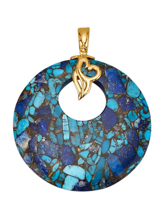 Amara Pierres colorées Pendentif clip avec turquoise, lapis-lazuli et cuivre, Multicolore