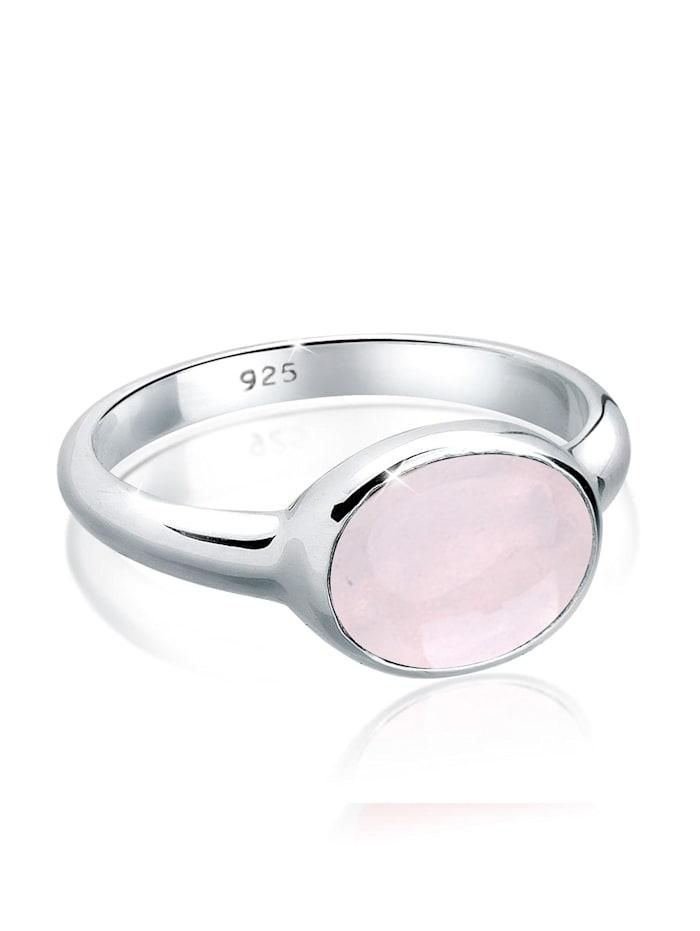 Ring Rosenquarz Solitär 925 Sterling Silber