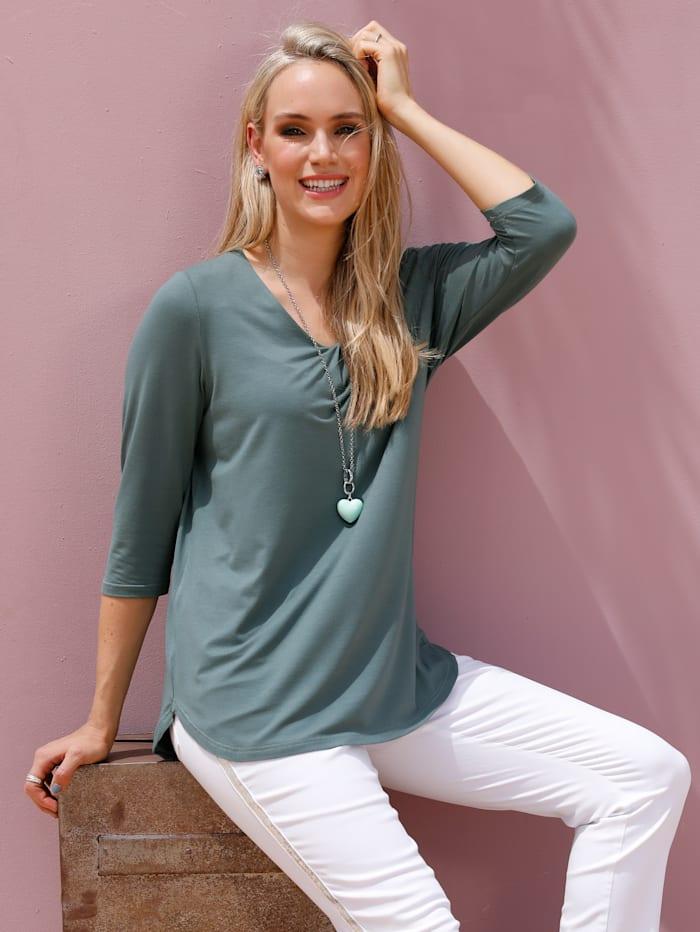 MIAMODA T-shirt avec plis fantaisie à l'encolure, Vert