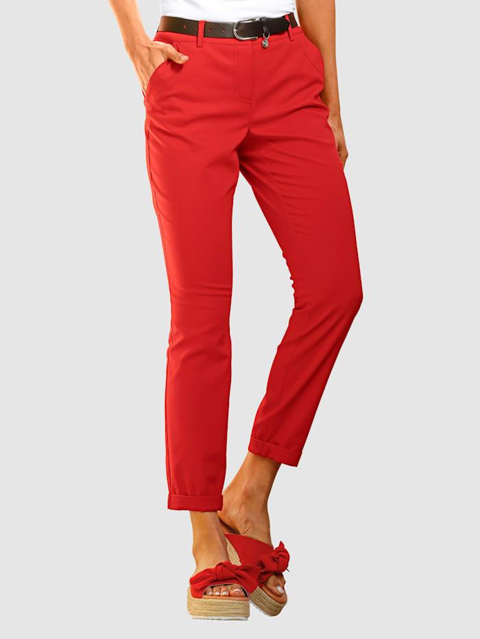 MONA Hose mit Umschlägen am Saum, Rot