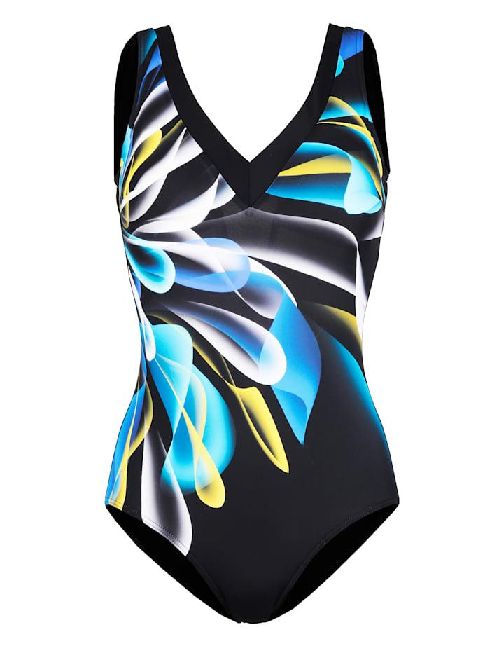 Sunmarin Maillot de bain 1 pièce à demi-corsage modelant, Noir/Bleu/Jaune