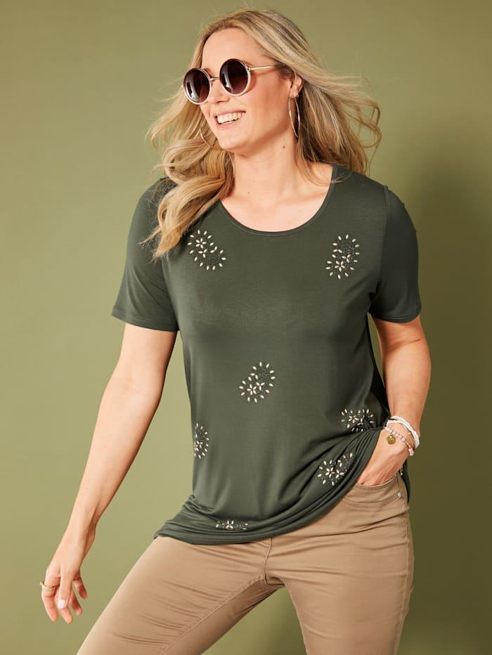 MIAMODA Longshirt mit Steinchen im Paisleydesign besetzt, Khaki
