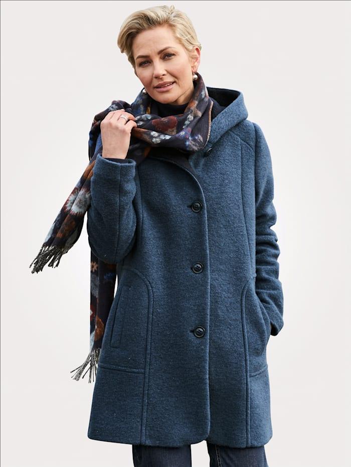 Barbara Lebek Veste en laine bouillie à capuche, Bleu/Marine