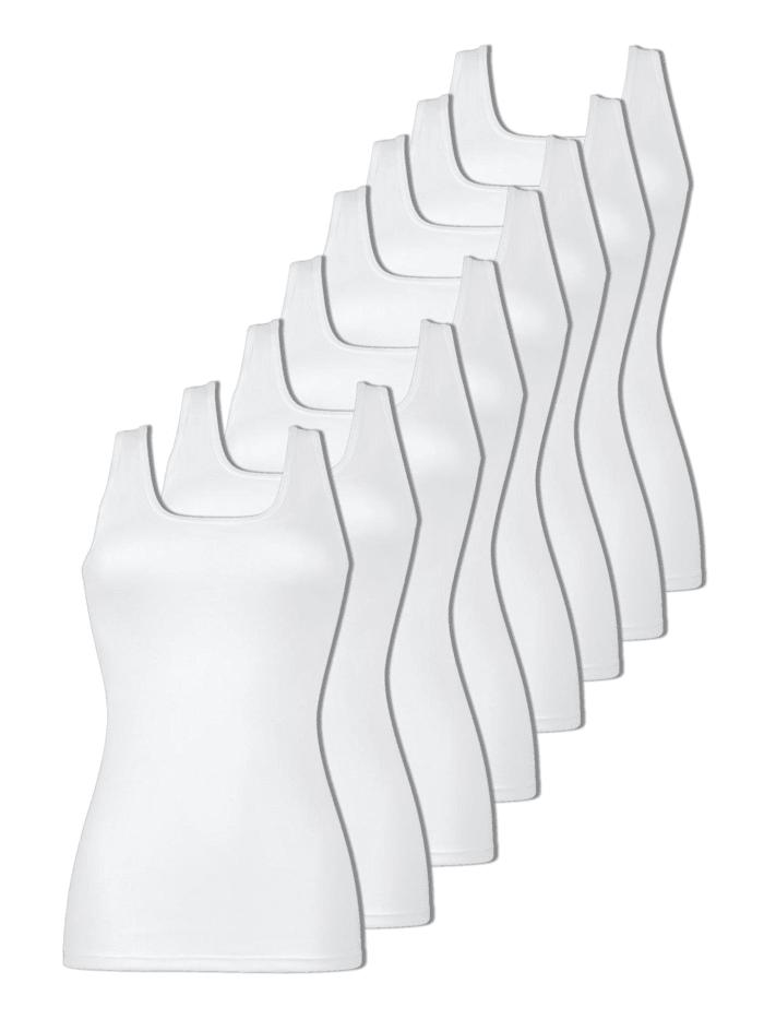 Naturana 8er Sparpack Damen Unterhemd, Weiss-Weiss