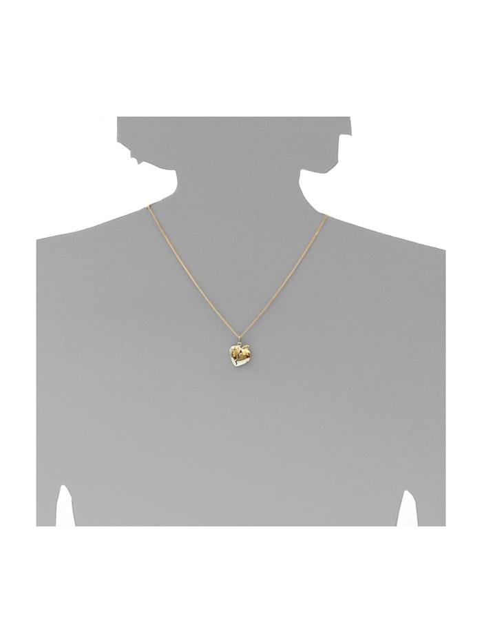 Kette mit Anhänger - geteiltes Herz - Silber 925/000, vergoldet - Zirkonia