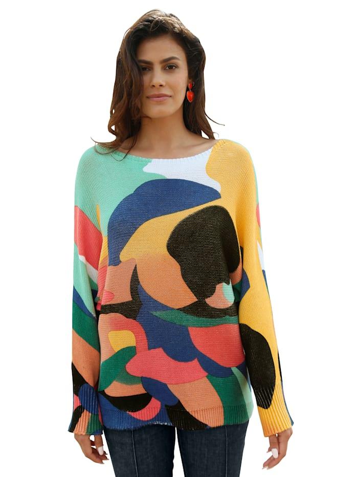 AMY VERMONT Pullover mit bunten Farbflächen, Weiß/Blau/Rot