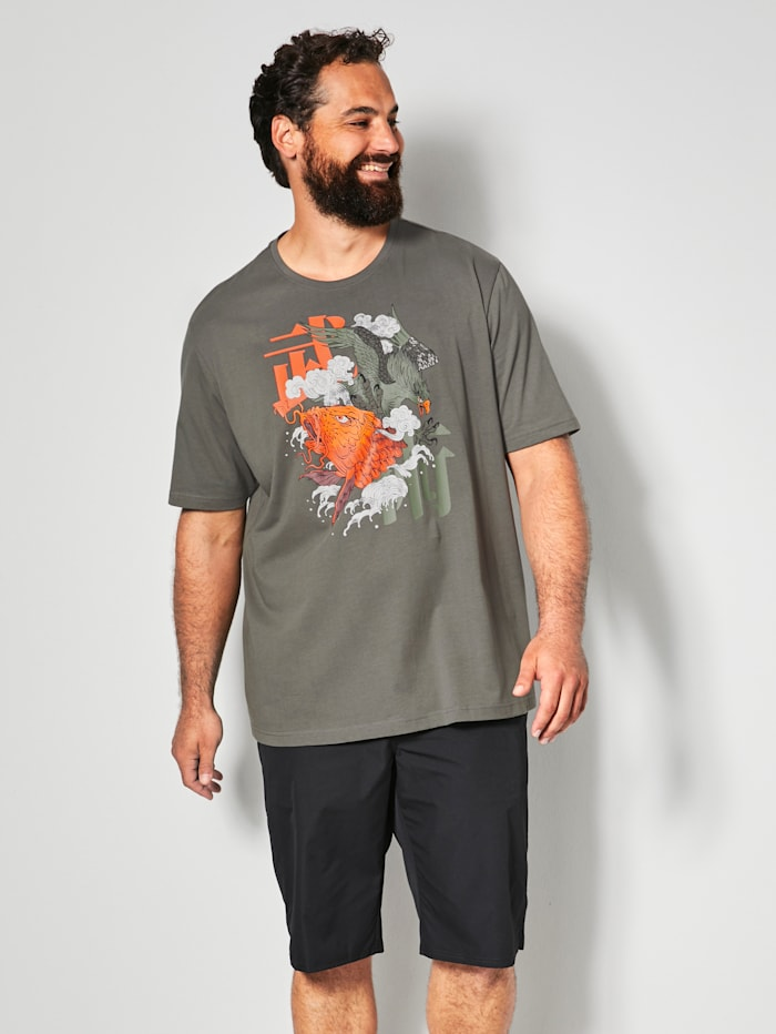 Men Plus T-Shirt aus reiner Baumwolle, Dunkelgrau/Orange