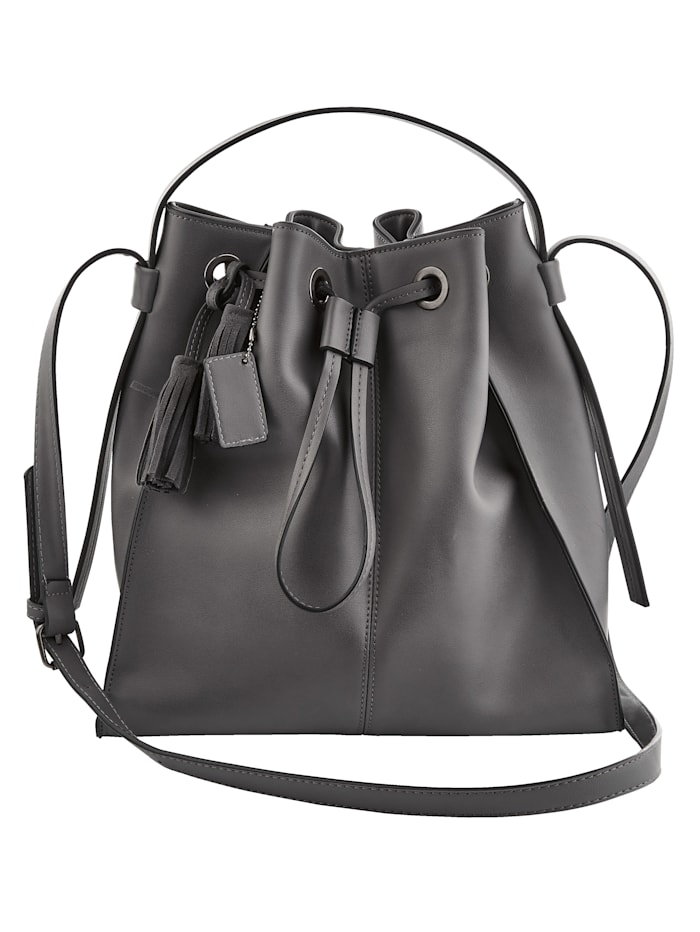 Turned Love Handbag with loop fastening, Dark Grey
