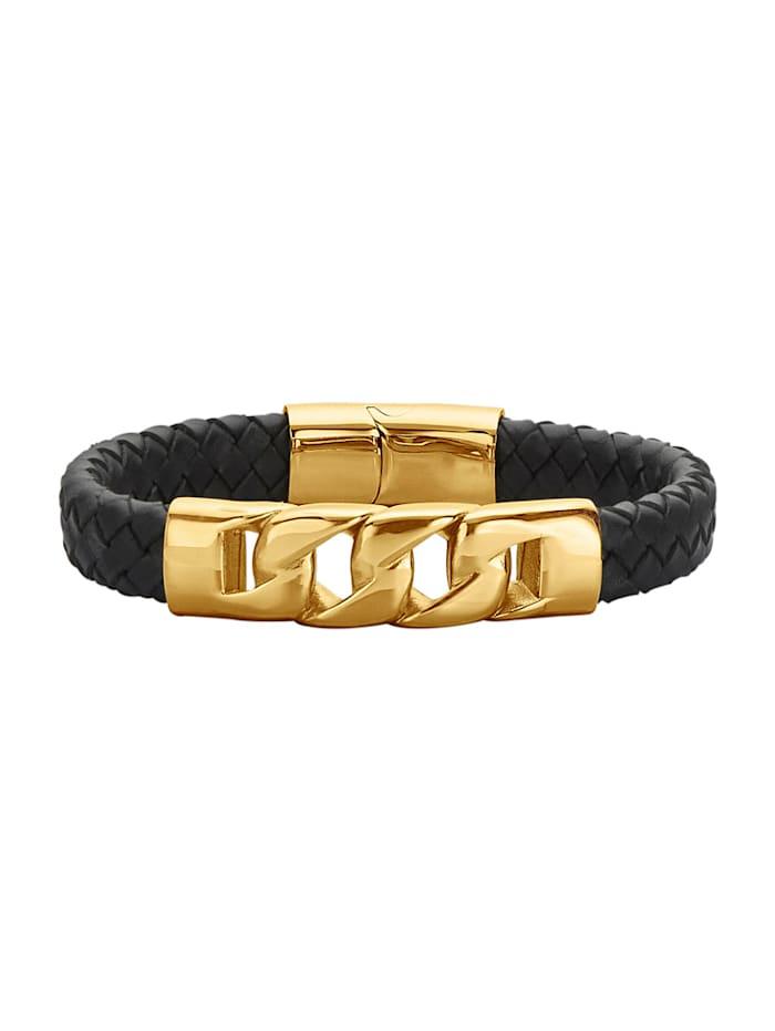 Magnetic Balance Bracelet en cuir et acier inox, plaqué or, Noir