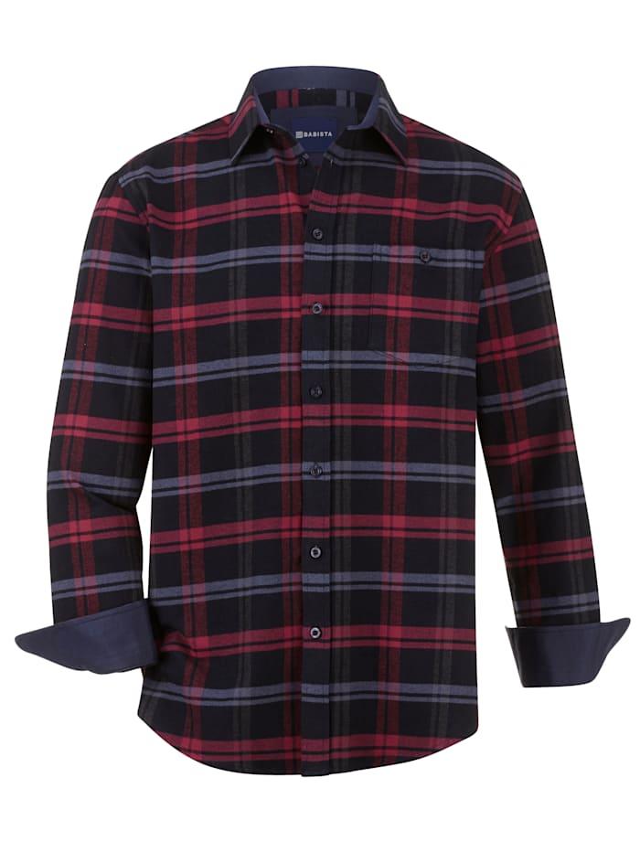 BABISTA Overhemd met 1 borstzak, Marine/Rood