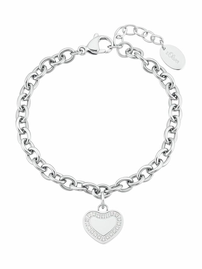 s.Oliver Armband für Damen, Edelstahl mit Zirkonia | Herz, Silber