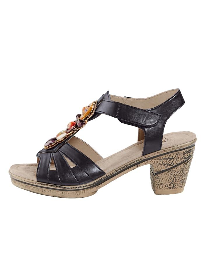 Sandale mit farbiger Schmuckapplikation