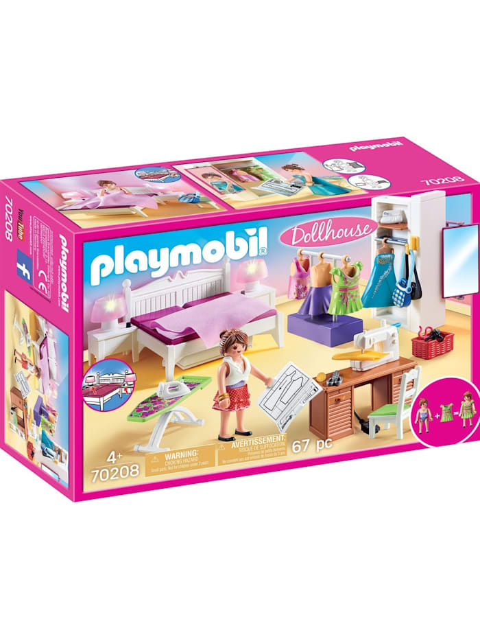 PLAYMOBIL Konstruktionsspielzeug Schlafzimmer mit Nähecke, Bunt