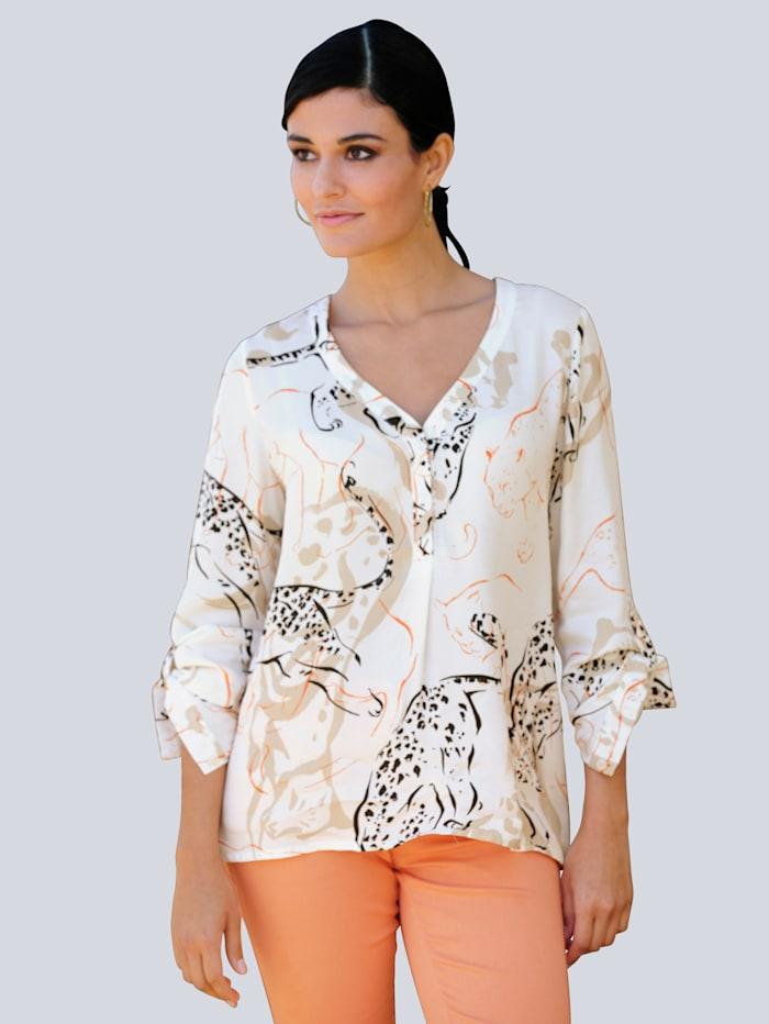 Alba Moda Bluse mit großflächigem Animalprint, Off-white/Beige/Orange