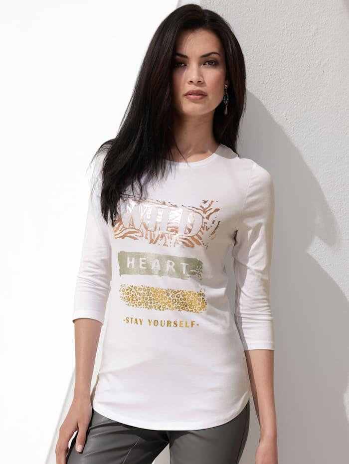 AMY VERMONT Shirt mit Foliendruck, Weiß