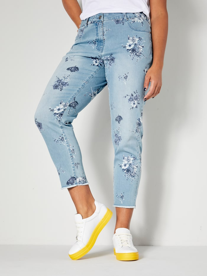 Angel of Style Jeans med blomster print, Blue bleached