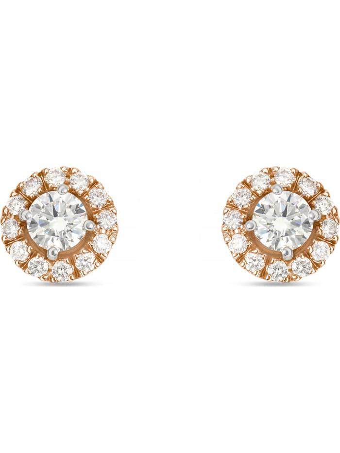 CHRIST C-Collection CHRIST Damen-Ohrstecker 585er Weißgold, 585er Rosegold 2 Diamant, bicolor