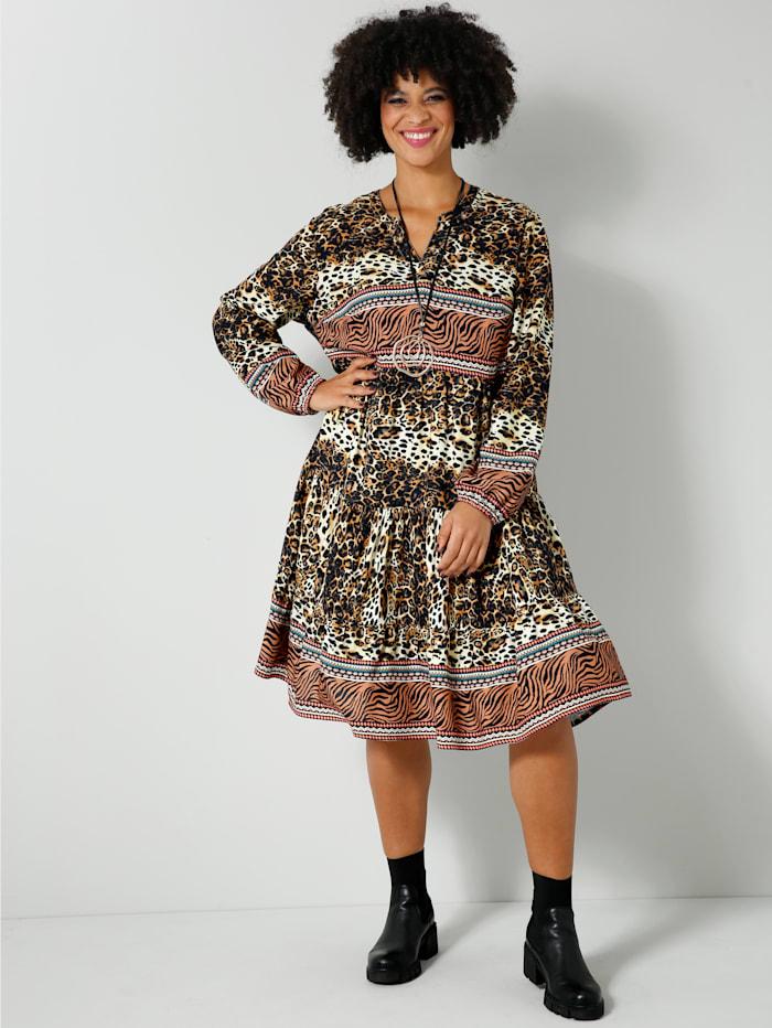 Angel of Style Web-Kleid mit kaschierenden Volants, Cognac/Schwarz/Orange