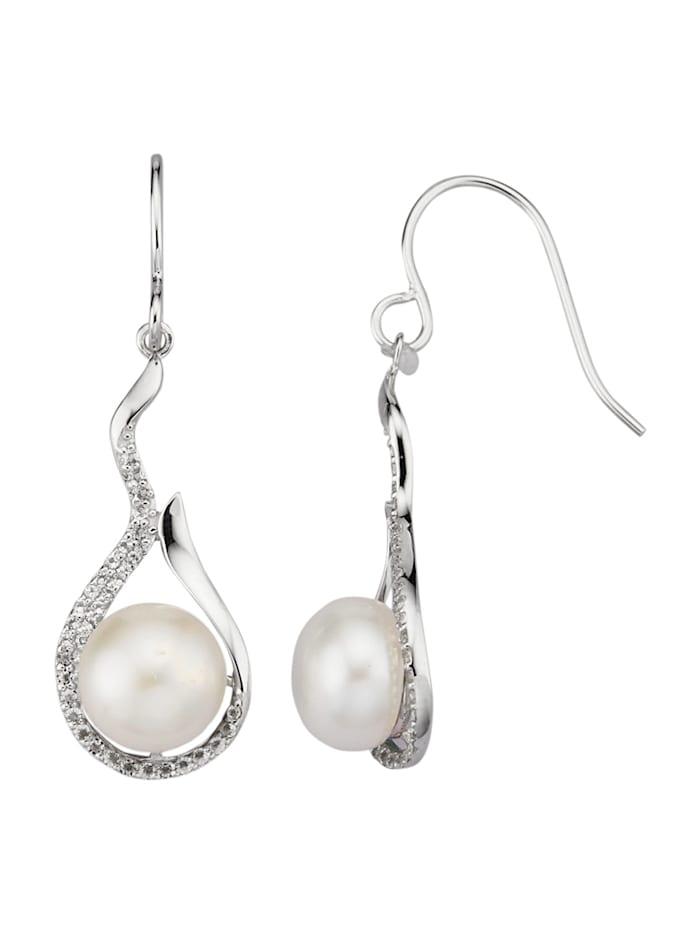 Amara Perle Ohrringe in Weißgold 585, Weiß