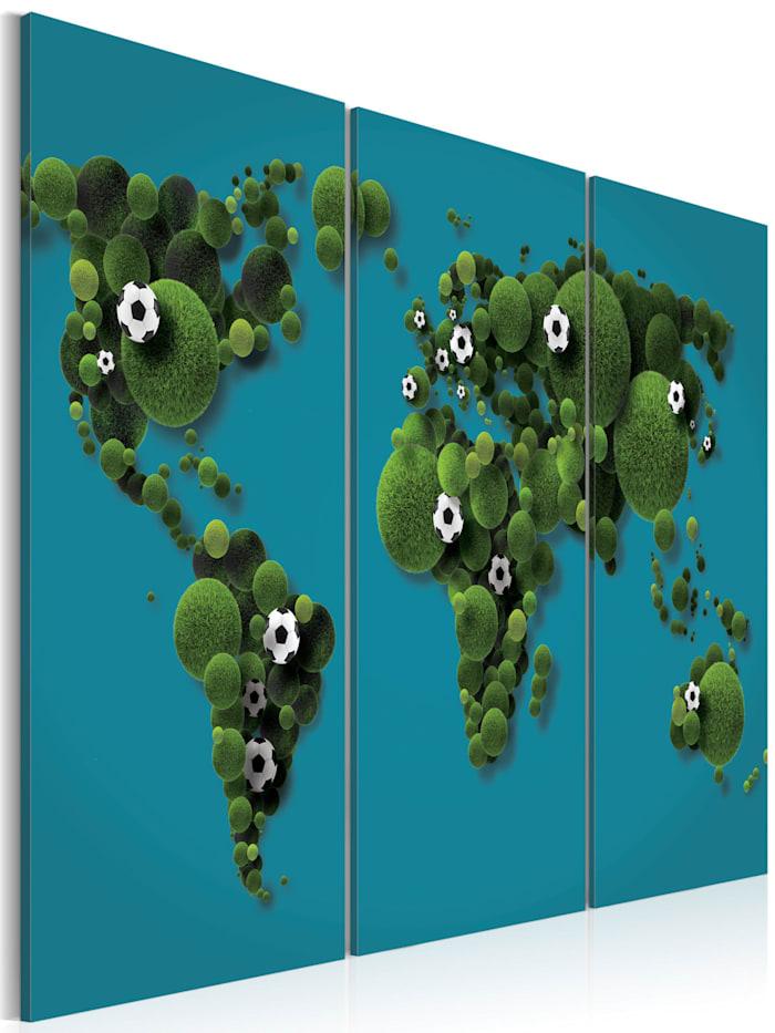 artgeist Wandbild Das größte Spielfeld der Welt - Triptychon, Blau,Grün
