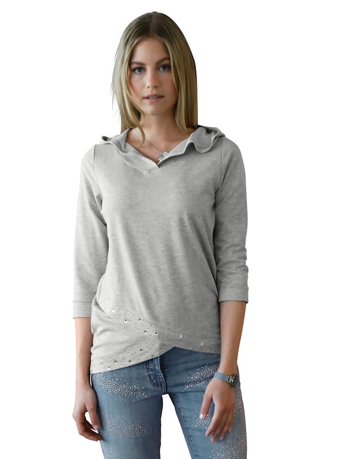 AMY VERMONT Sweatshirt met capuchon en strassteentjes voor, Grijs