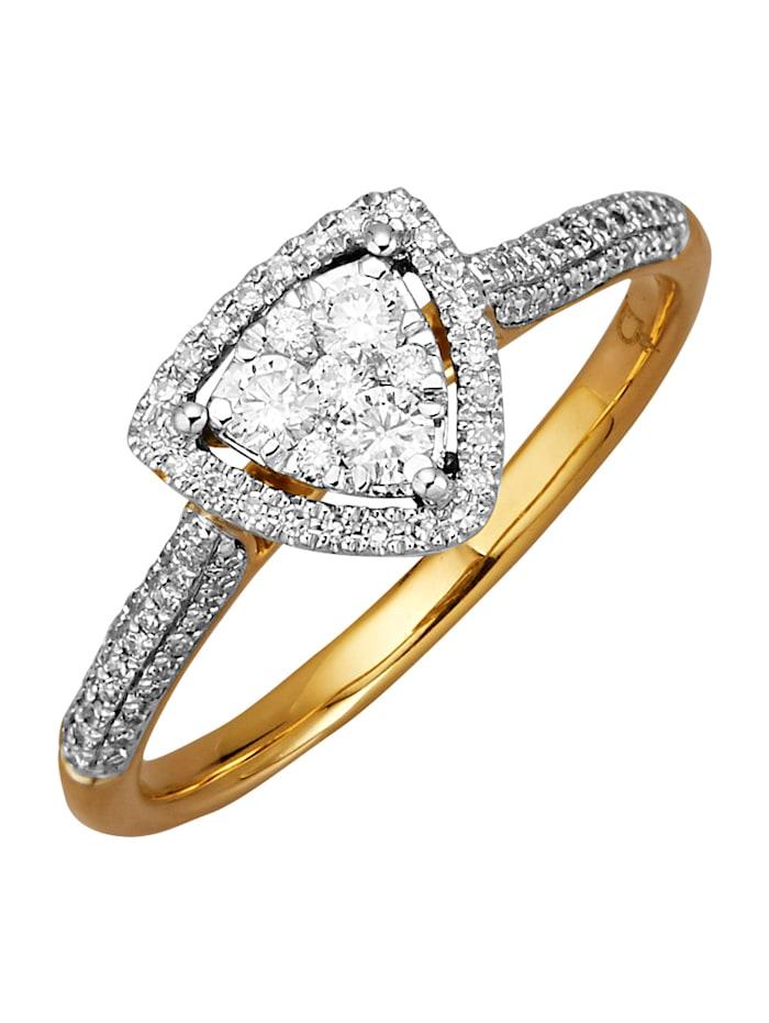 Diemer Diamant Damenring mit Brillanten und Diamanten, Weiß
