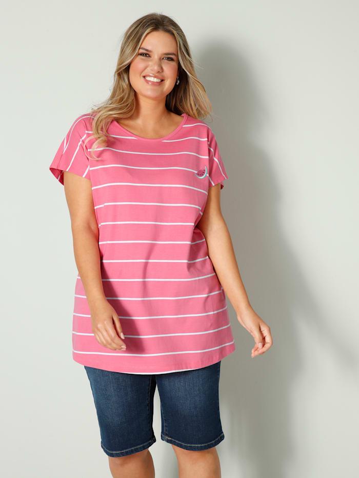 Janet & Joyce Shirt mit Melonen-Stickerei, Pink/Weiß