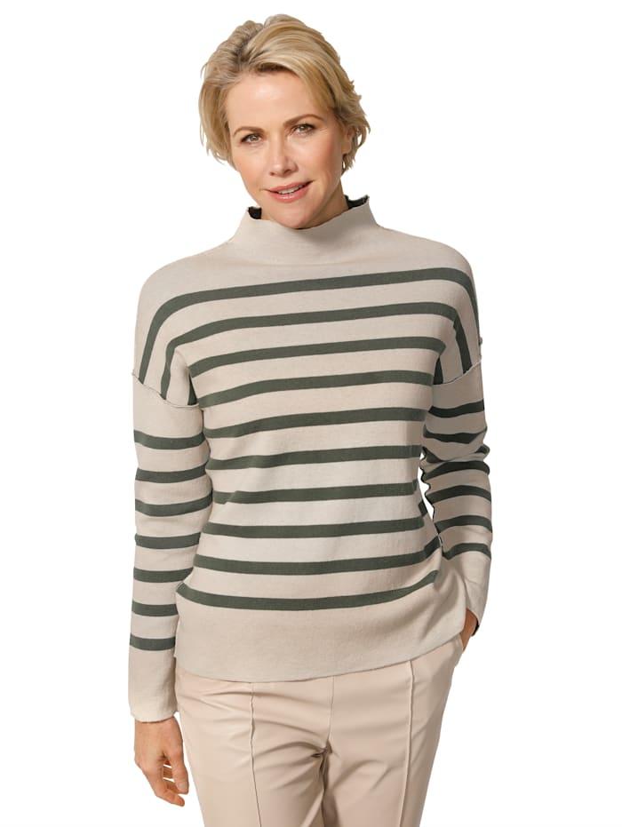MONA Pullover aus reiner Baumwolle, Tannengrün/Kitt