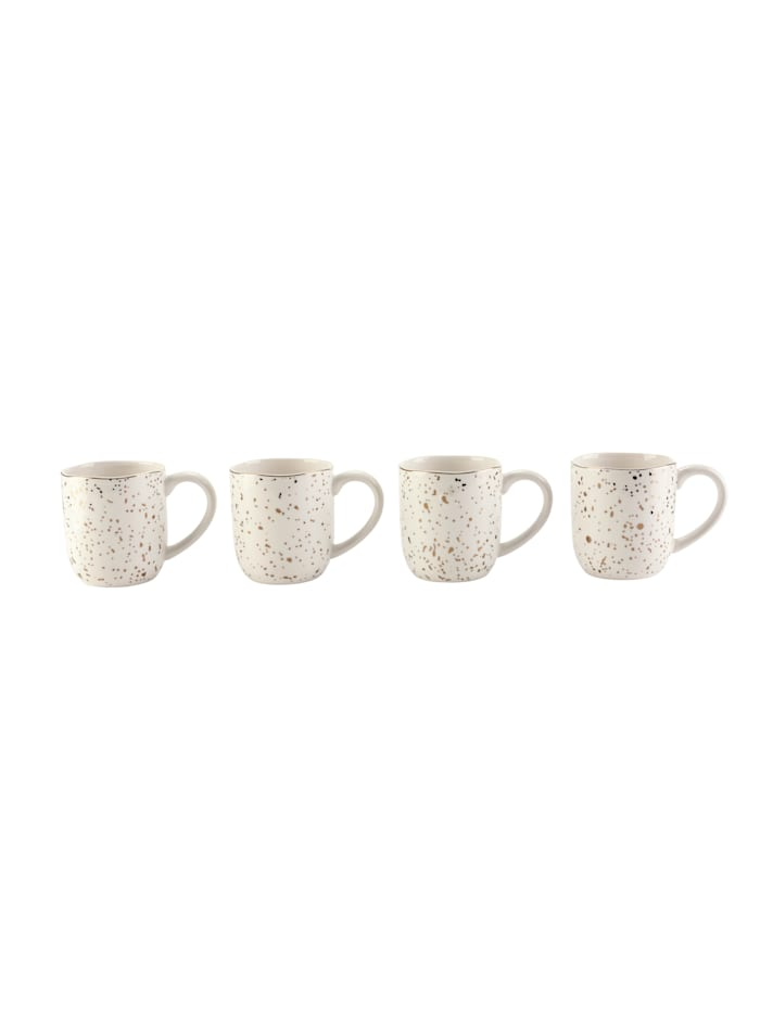 IMPRESSIONEN living Lot de 4 mugs, Blanc/coloris or