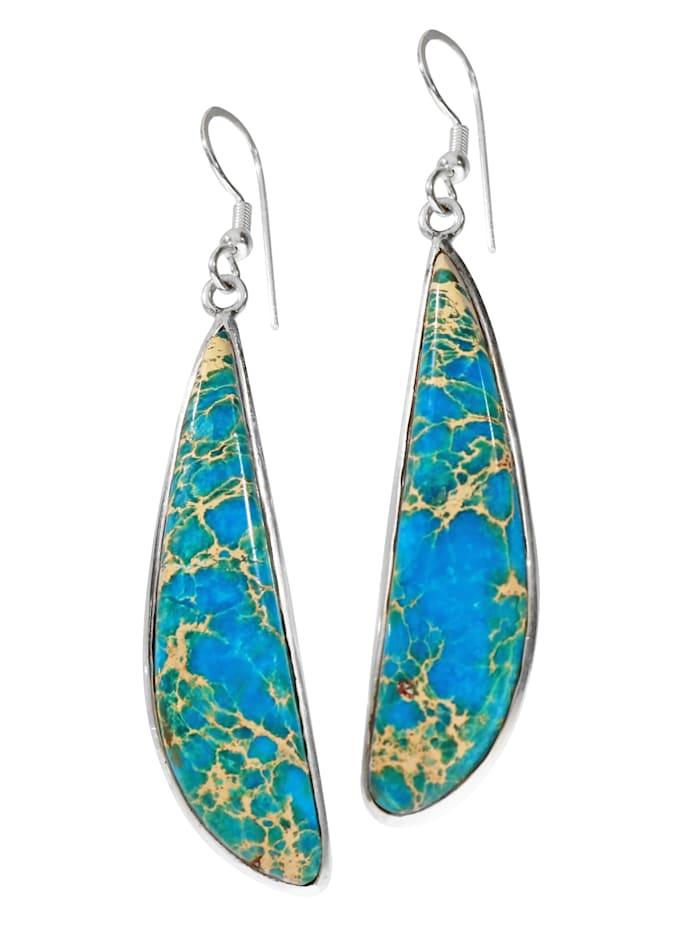1001 Diamonds Damen Schmuck Edelstein Jaspis Ohrhänger Anhänger 925 Silber blau Fisch, blau