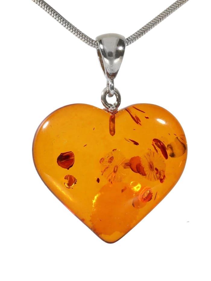 1001 Diamonds Damen Schmuck Edelstein Bernstein Anhänger 925 Silber braun Herz, braun
