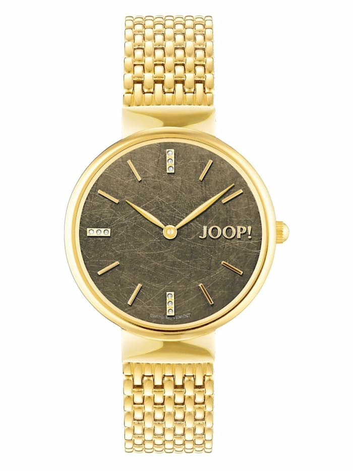 JOOP! Quarzuhr für Damen, Edelstahl, Zirkonia, Gold