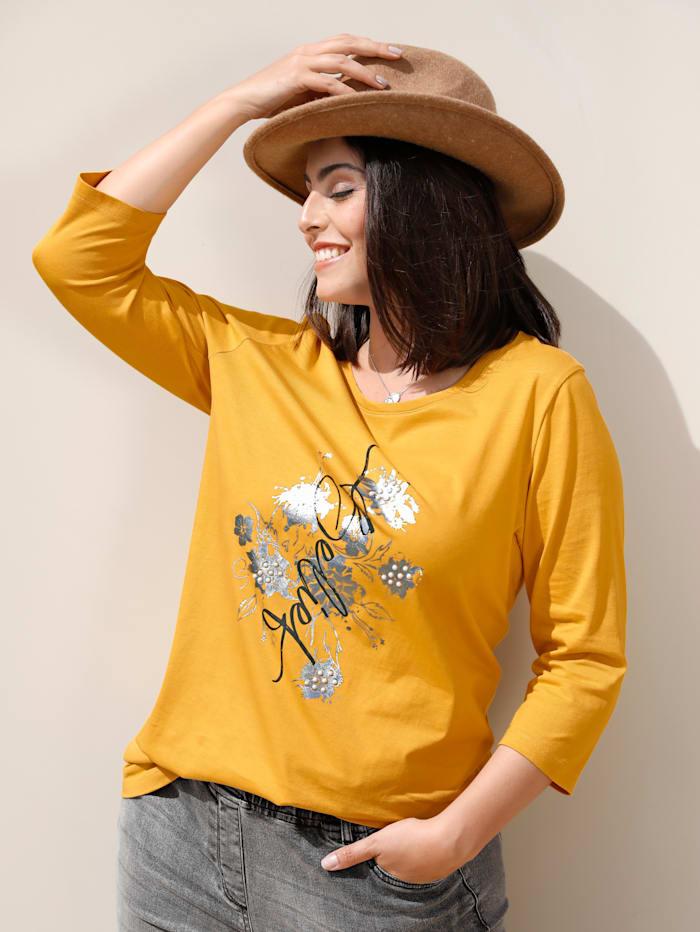MIAMODA Shirt mit Folienprint, Gelb