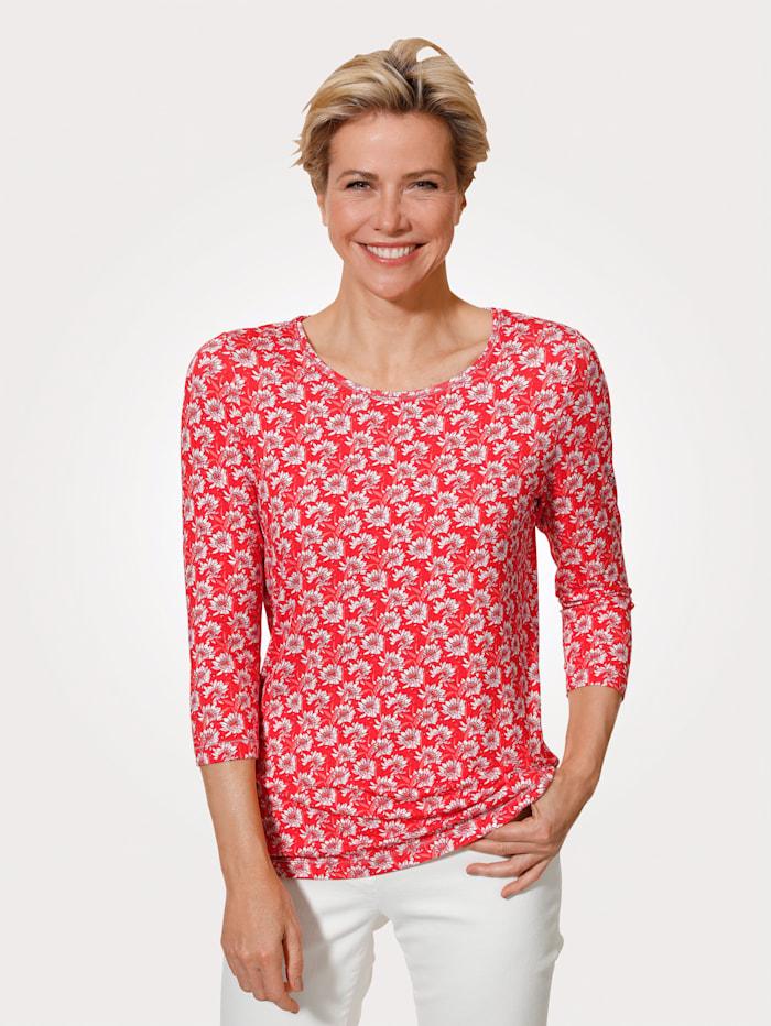MONA T-shirt à motif floral, Corail/Rose/Écru